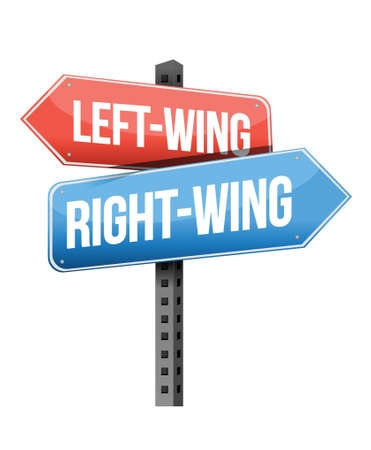 street party: Left-wing and right-wing road sign illustration design over white