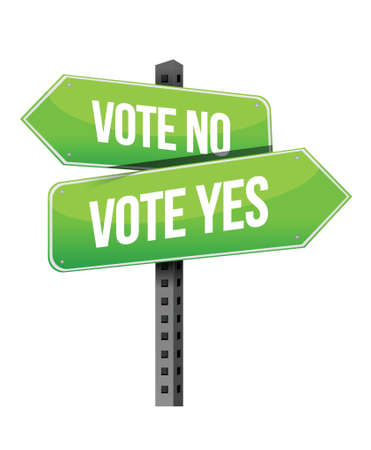 yes no: vote yes or no road sign illustration design over a white background