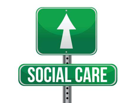 care: social care road sign illustration design over a white background
