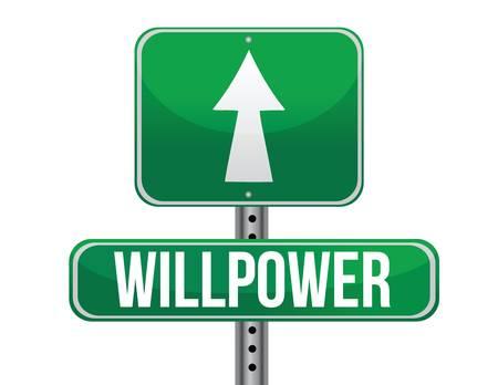 willpower: forza di volont� cartello stradale design illustrazione su uno sfondo bianco