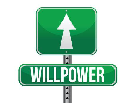 desire: willpower road sign illustration design over a white background