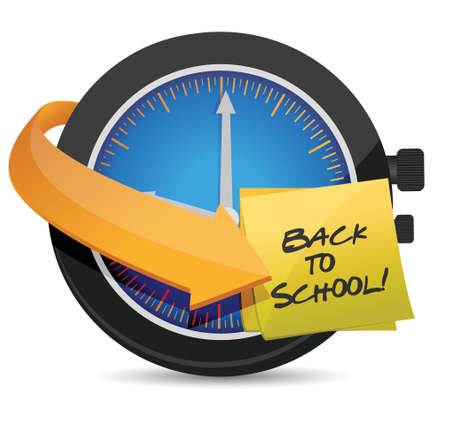 tack: time to go Back to school post an clock illustration design.