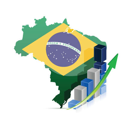 Brazil map and graph illustration design over a white background