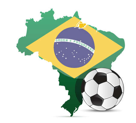 Brazilian flag map and soccer ball isolated over white background Çizim