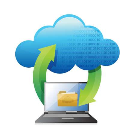 accessing: cloud computer and laptop folder illustration design over white Illustration