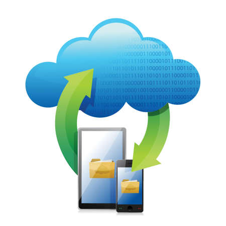 Cloud computing concept. Mobile phone with cloud illustration design Stock Vector - 18548348