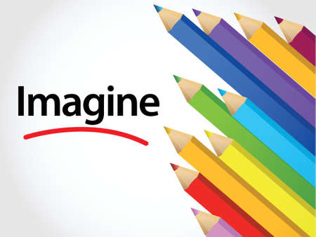 imagine: Imagine Multicolored pencils illustration design over a white background Illustration
