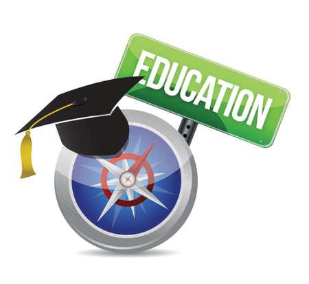 Chapeau de graduation d'éducation sur une conception d'illustration boussole sur blanc Banque d'images - 18548349