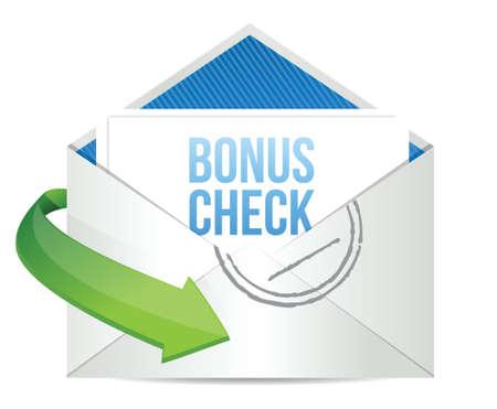 checkbook: bonus check Envelope illustration design over a white background design