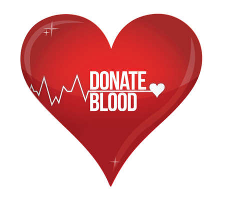 Blood donation medicine help hospital save life heart illustration design over white Vector