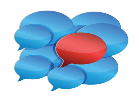 discussion: speech bubbles communication and discussion illustration design over white