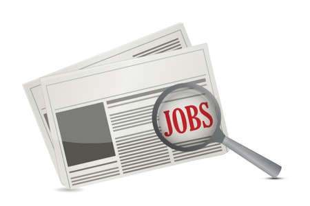 vacancies: Job search concept on a newspaper illustration design over white Illustration