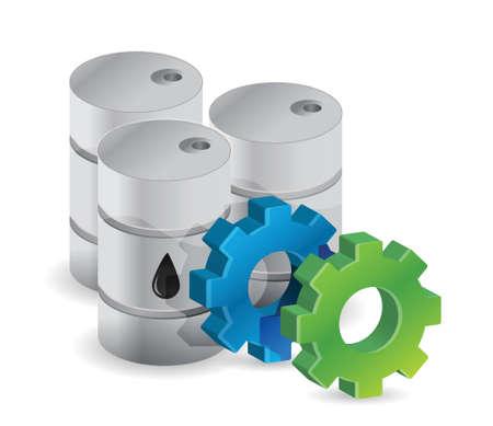 barell: oil barrels and industrial gears illustration design over white Illustration