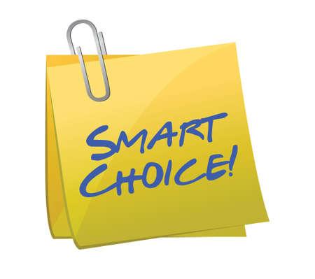 smart: smart choice concept on a post-it illustration design Illustration
