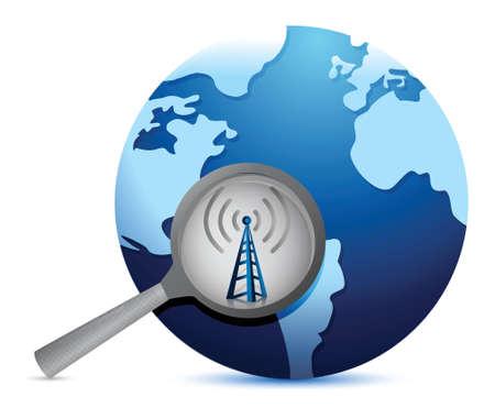 conectividade: procurar conectividade em torno da torre wi-fi mundo. Projeto da ilustra Ilustração