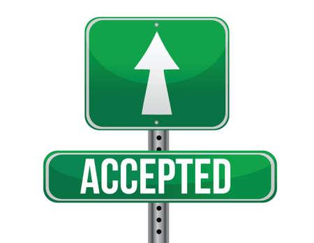 previews: accepted road sign illustration design over a white background Illustration