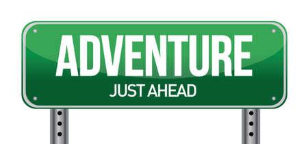 previews: adventure road sign illustration design over a white background Illustration