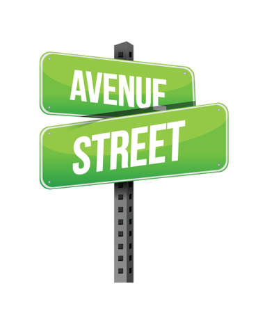 avenue and street road sign illustration design over a white background Иллюстрация