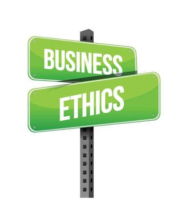 etica: ética empresarial carretera signo ilustración diseño sobre un fondo blanco Vectores