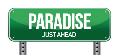 blank road sign: paradise road sign illustration design over a white background