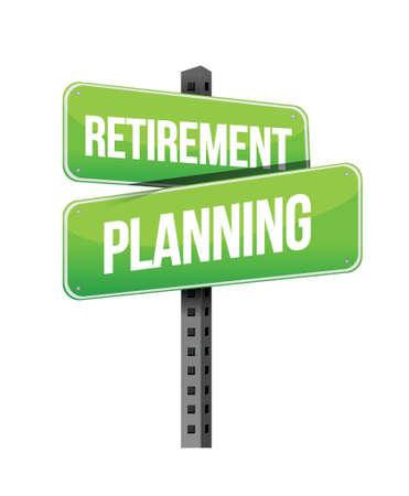 planlama: beyaz bir arka plan üzerinde emeklilik planlaması yol işareti illüstrasyon tasarımı Çizim