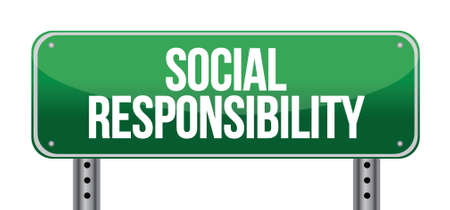 previews: social responsibility road sign illustration design over a white background