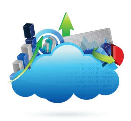 stockmarket chart: Business financial economy Cloud computing concept illustration design over white