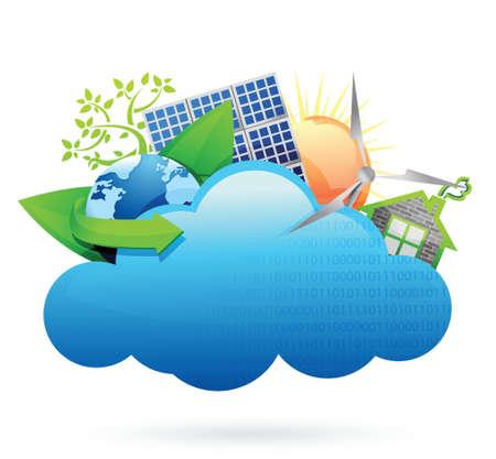 wheather forecast: Eco green Cloud computing concept illustration design over white Illustration