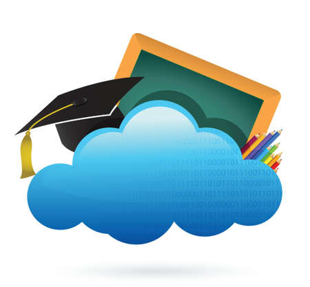 education Cloud computing concept illustration design over white Vector