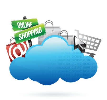wheather forecast: Online shopping Cloud computing concept illustration design over white