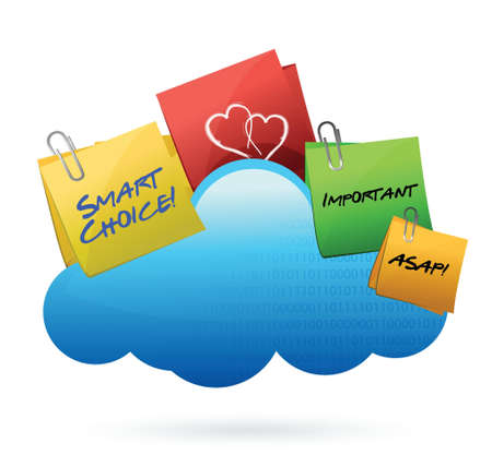wheather forecast: posts Cloud computing concept illustration design over white