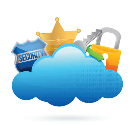 wheather forecast: security Cloud computing concept illustration design over white Illustration