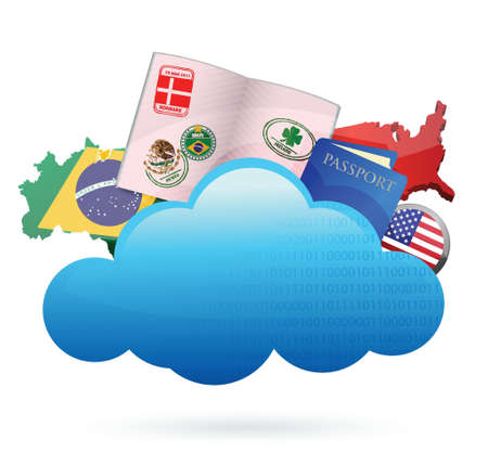 traveling Cloud computing concept illustration design over white Vector