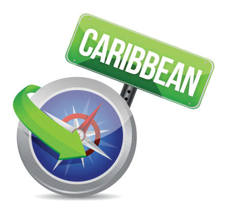 compass directed to caribbean illustration design over white Vector