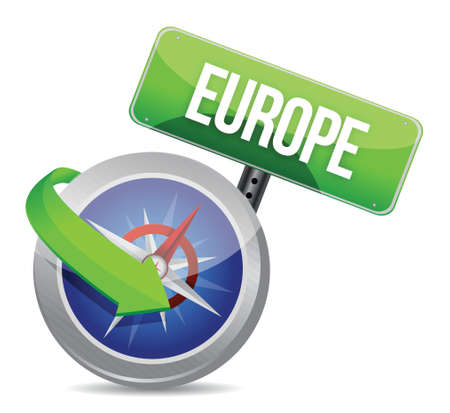 compass directed to europe illustration design over white Vector