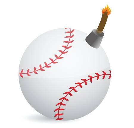 Baseball bombe conception d'illustration sur la conception blanc Banque d'images - 18561711