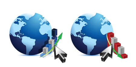 Globe and business graphs illustration design over white Vector