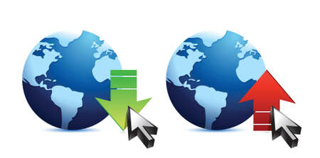 torrent: Download and upload icons. Globe illustration design over white