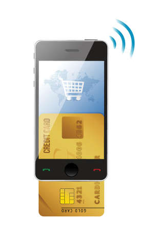 Shopping concept. Credit Card and modern mobile phone on a white background Vector