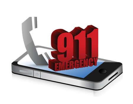 ems: Llamada de emergencia inteligente dise�o de la ilustraci�n sobre un fondo blanco