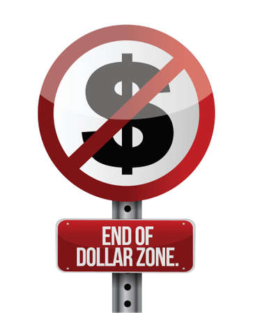 road traffic sign with a dollar zone end concept Stock Vector - 18561361