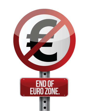 financial emergency: road traffic sign with a euro zone end concept Illustration