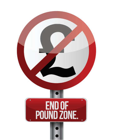 financial emergency: road traffic sign with a British pound zone end concept