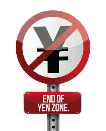 road traffic sign with a yen zone end concept Stock Vector - 18561368