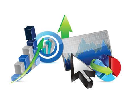 stockmarket chart: Business financial economy concept illustration design over white