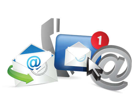 mail us: Contact us concept illustration design over white