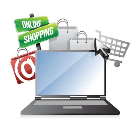 online shopping concept illustration design over white Illustration