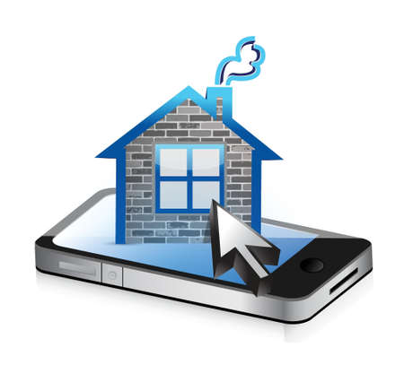 house illustration: smartphone and home icon illustration design over a white background