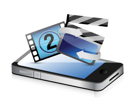 phone movie cinema concept illustration design over white Illustration