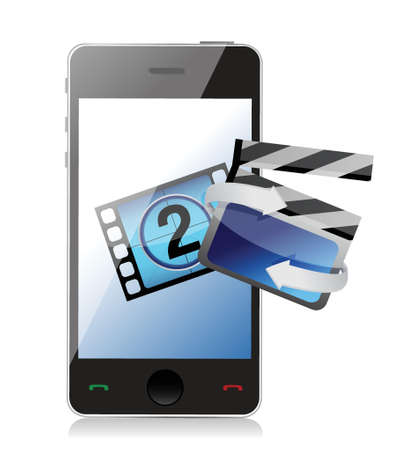 phone movie cinema concept illustration design over white Stock Vector - 18561379